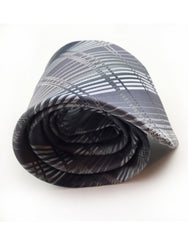Silver charcoal rolled up tie