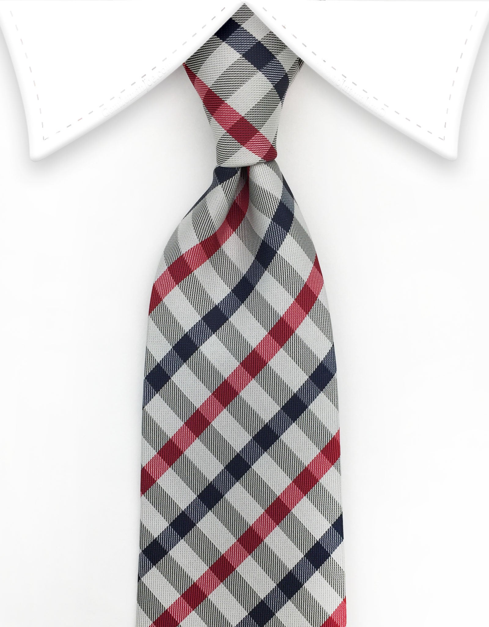Navy Blue & Red Stripes on Silver Tie