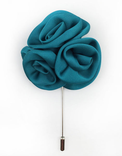 Teal Flower Lapel Pin