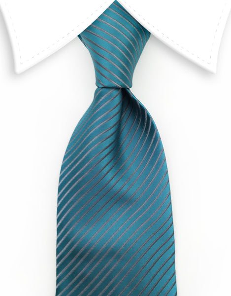 Teal tie with silver pinstripes