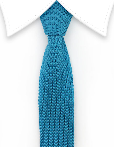 Turquoise Knitted Necktie