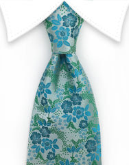 Seafoam Green & Turquoise Floral Tie