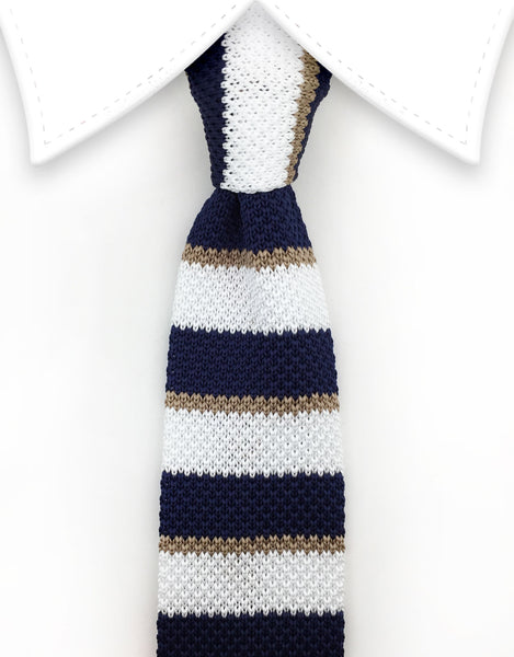 Navy Blue, White & Taupe Knit Necktie