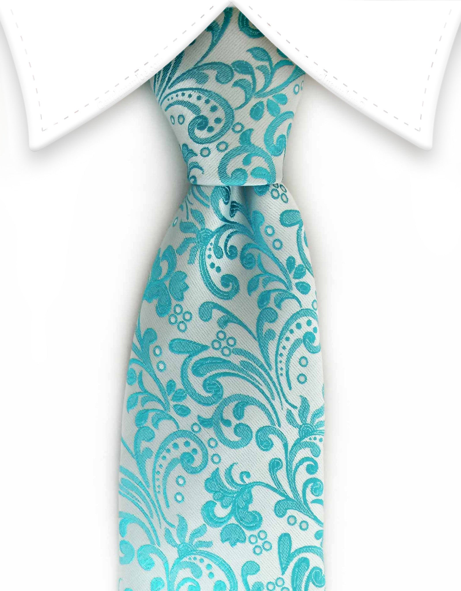 Turquoise floral tie