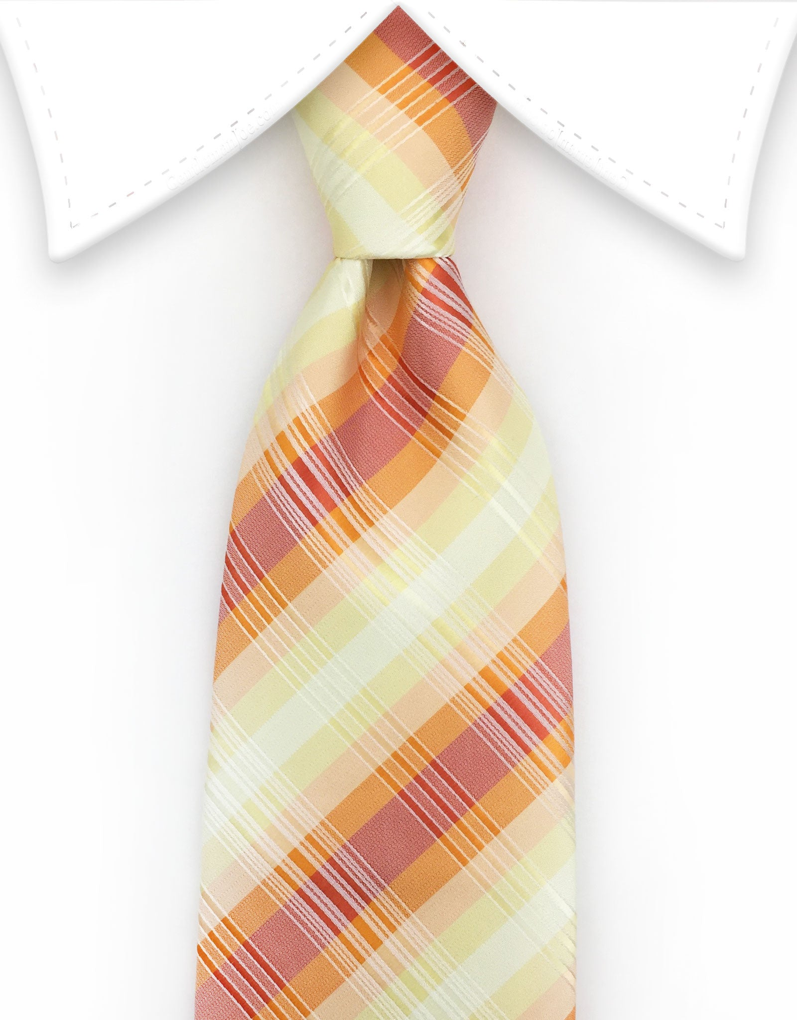 orange and yellow plaid tie