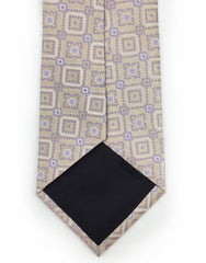 beige tie with purple motif