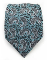 Aqua & Black Paisley Men's Tie