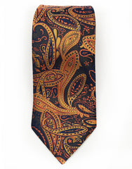 navy blue gold, orange necktie