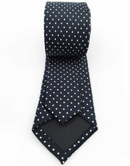 Black necktie with white dots