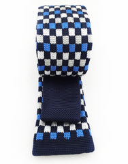 back view of blue and black skinny knitted necktie