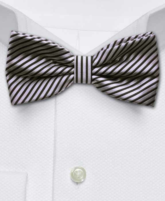 Silver & Black Stripe Bow Tie