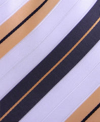 Brown, Apricot & White Striped Tie