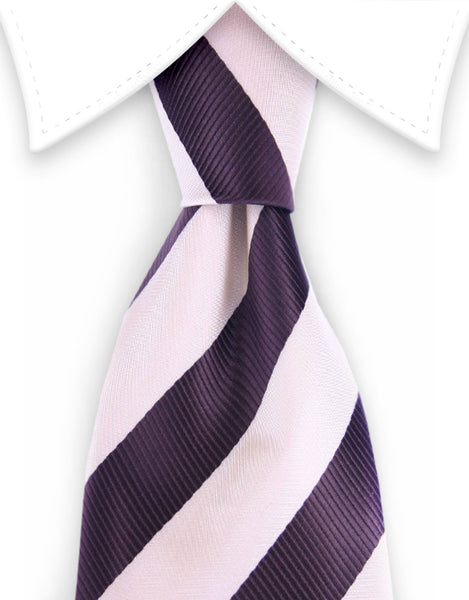 Beige and Brown Striped Collegiate Necktie