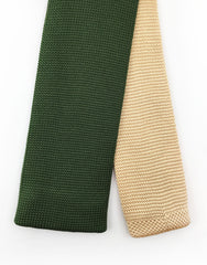 tip of khaki green & beige knitted necktie
