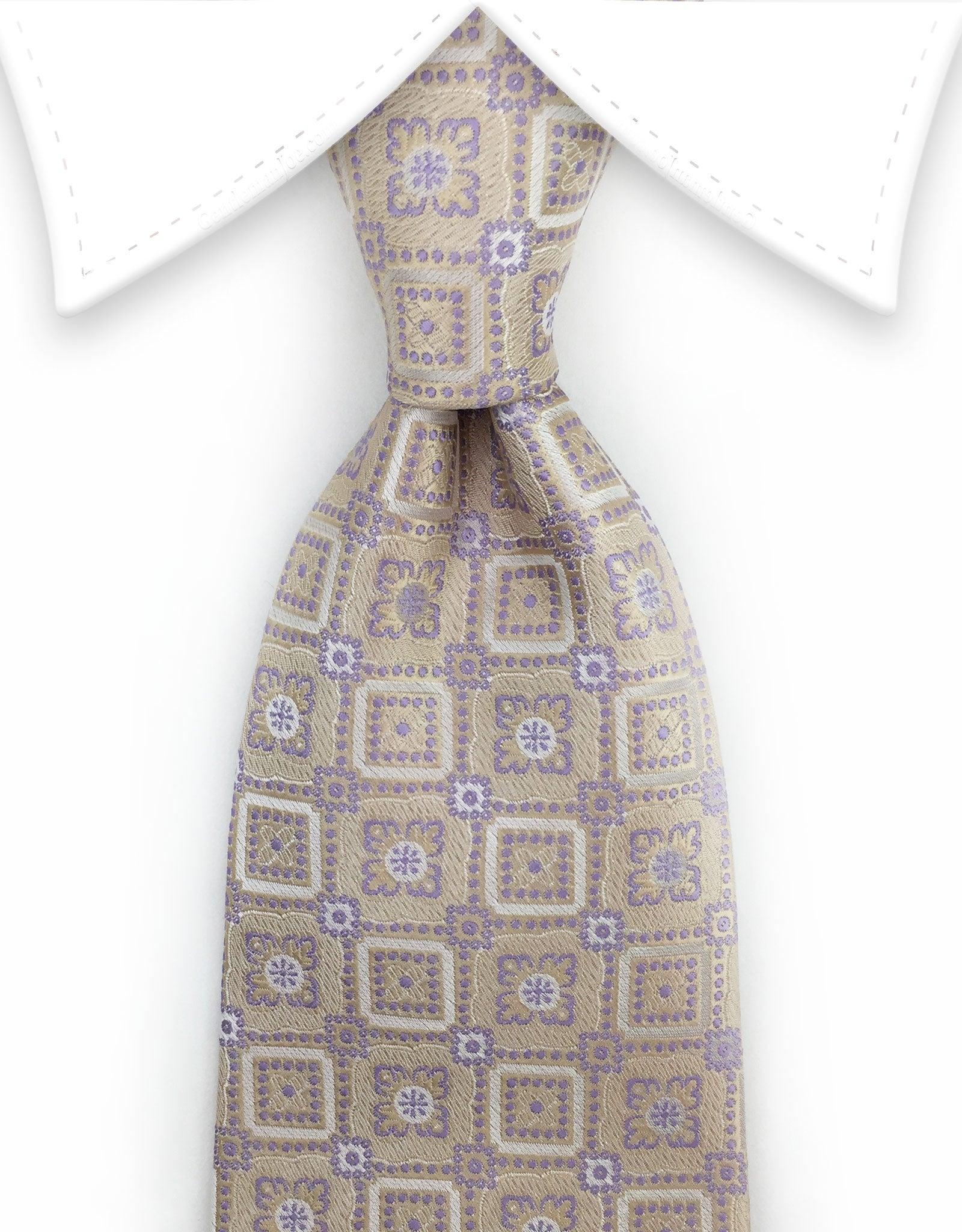 Antique Ivory Tie with lilac motif