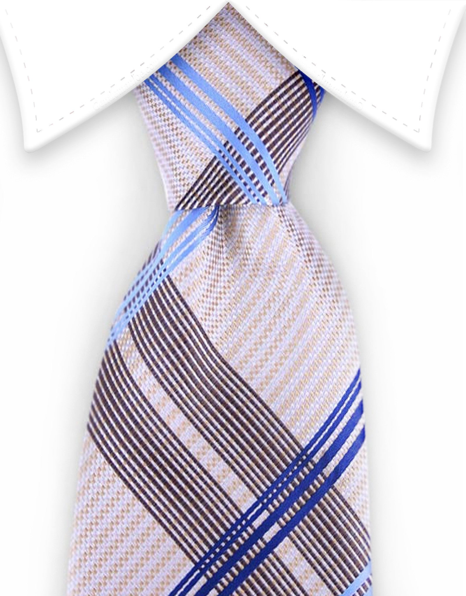 cream yellow blue plaid tie