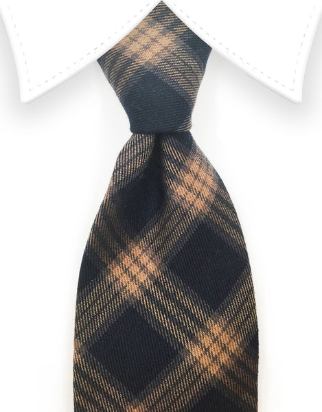 Black and Camel Brown Cotton Necktie