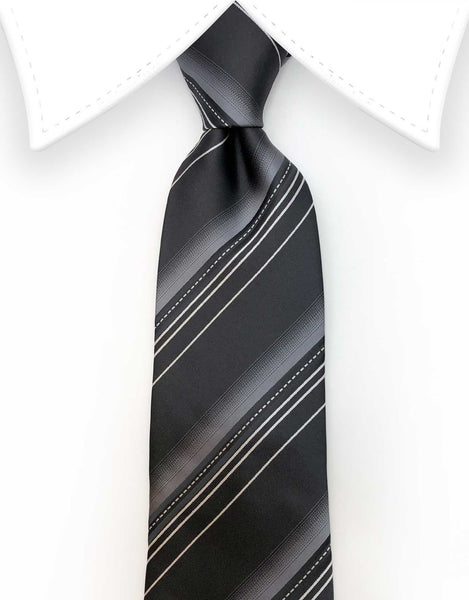 Black Charcoal and White Striped Tie
