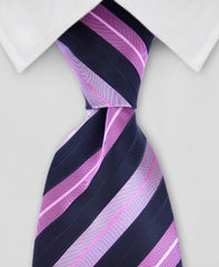 black and pink stripe necktie