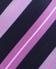 Black & Pink Thick Striped Tie
