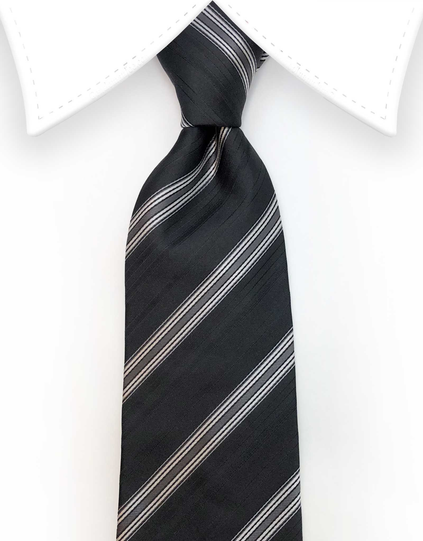 Black and Gray Striped Necktie