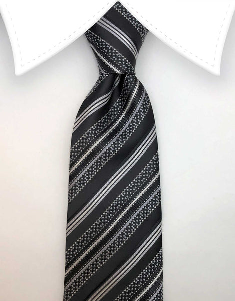 Black & White Geometric Striped Tie
