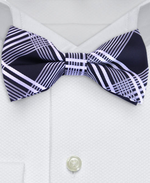 Black and silver plaid bowtie