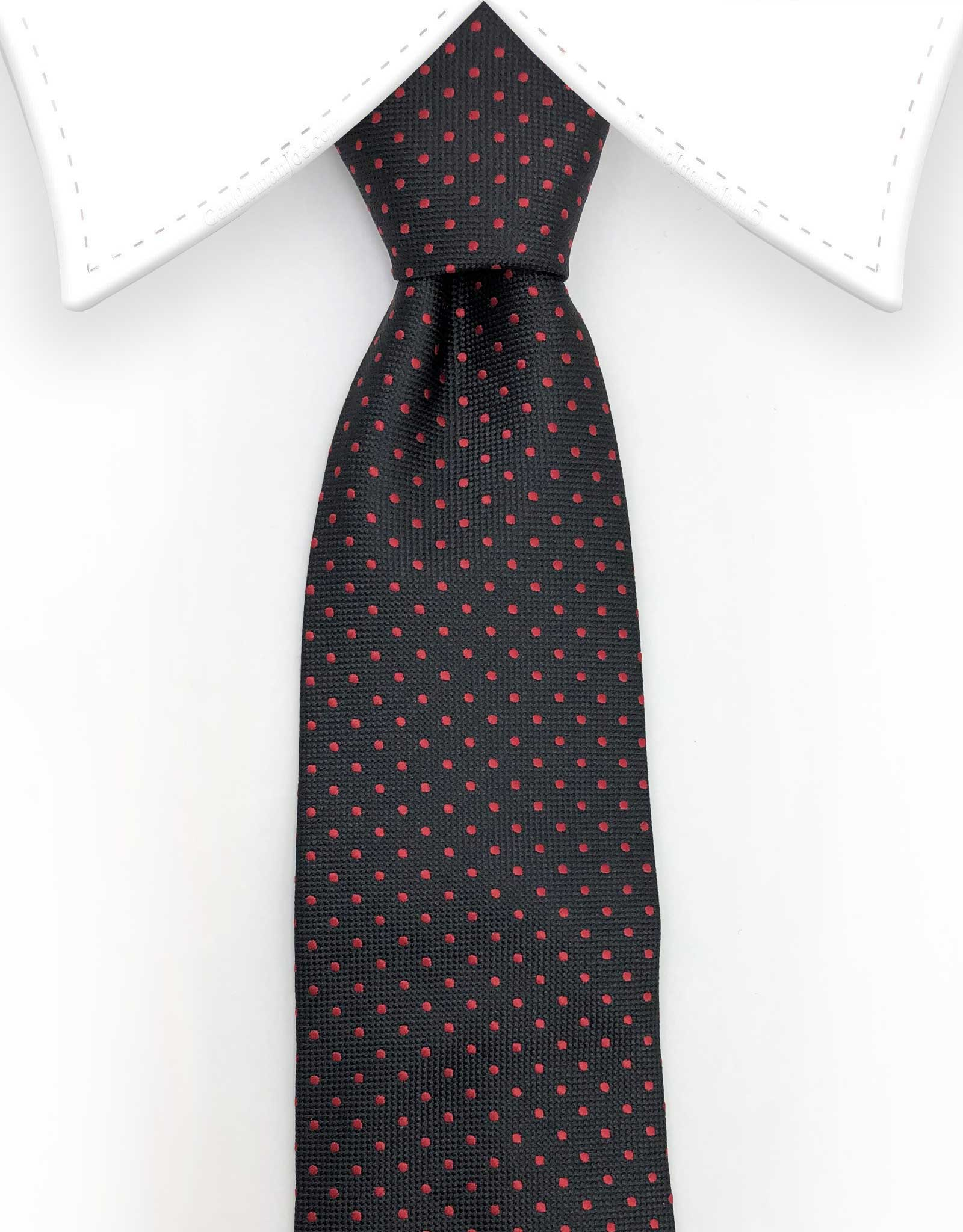black tie with red dots