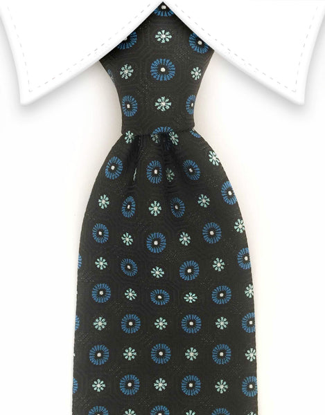 black and blue flowers tie