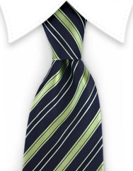 black and green striped tie