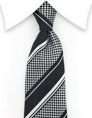 Black and light silver tie