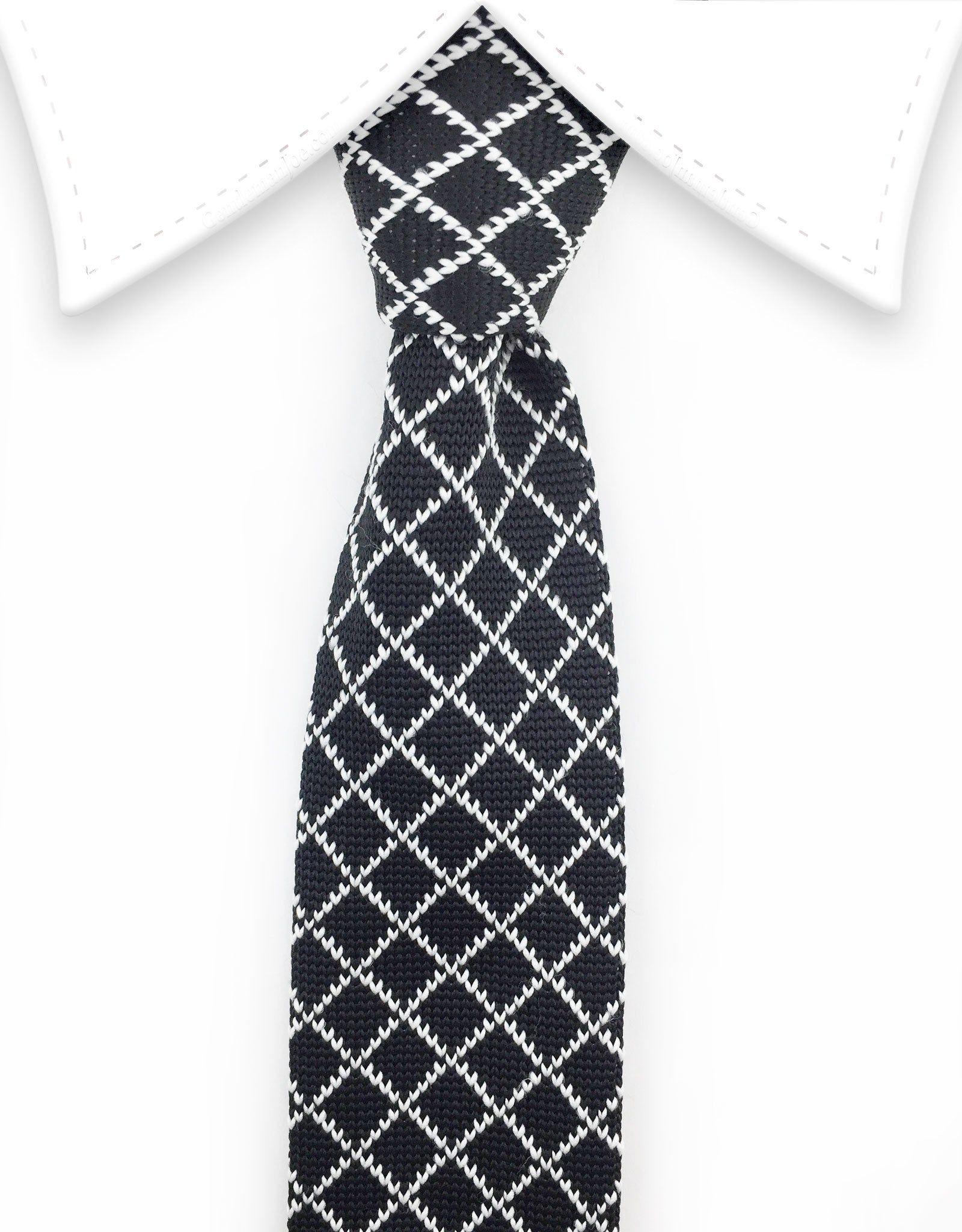 black and white knitted tie
