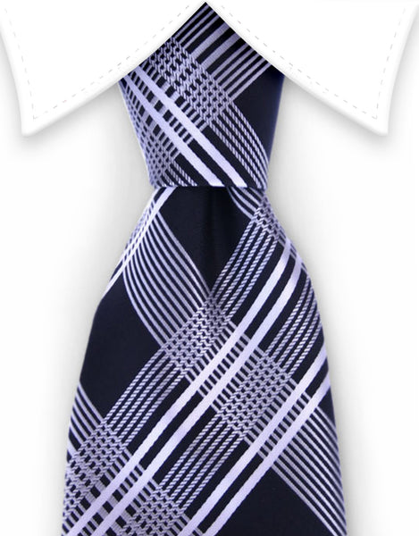 Black and silver plaid necktie