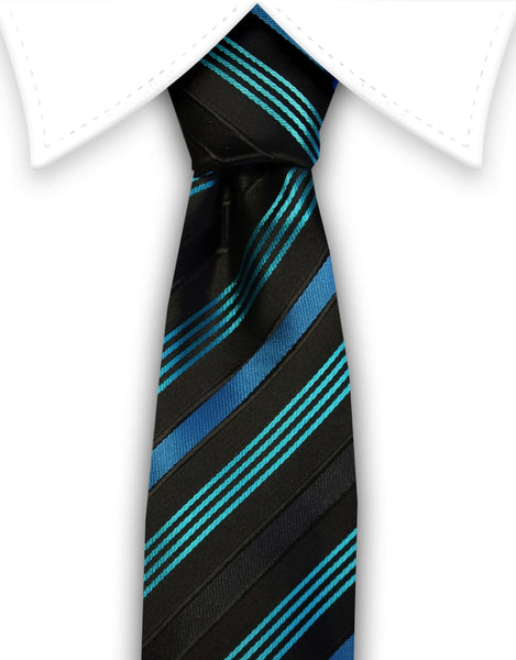 Black, Aqua, Teal Narrow Necktie