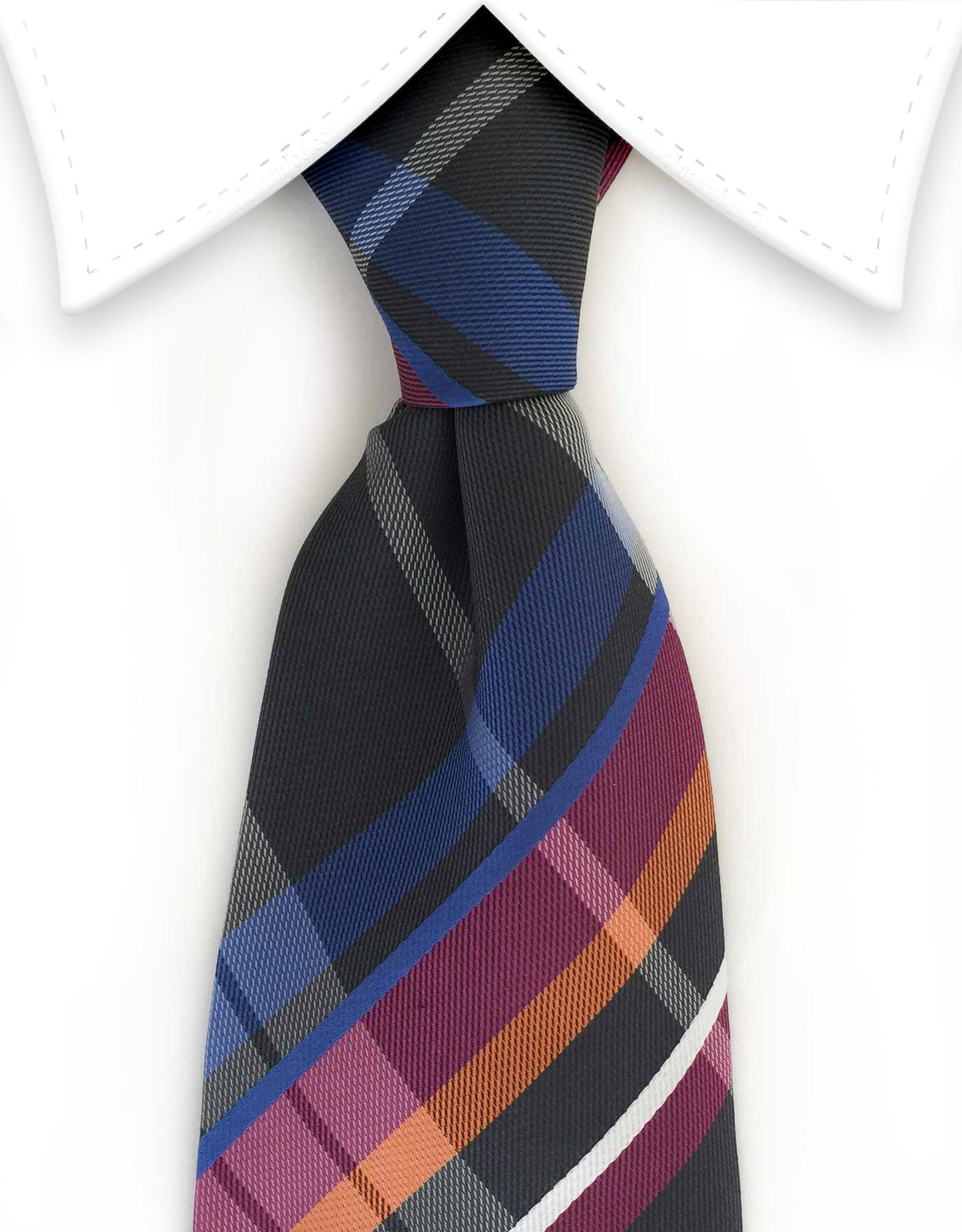 Black, blue, purple, orange & white plaid tie