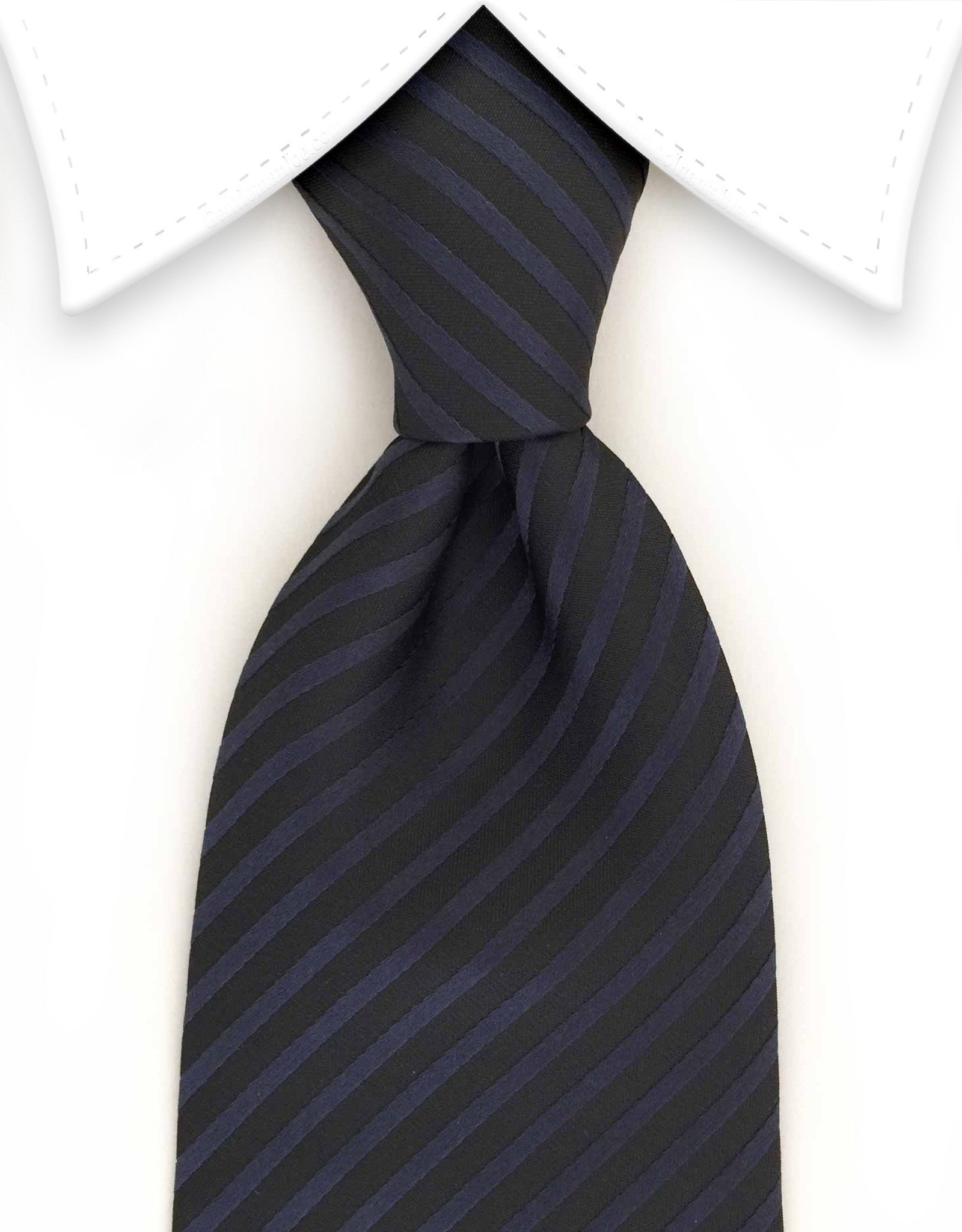 Black and navy blue stripe tie