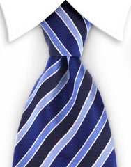 blue extra long tie with black stripes