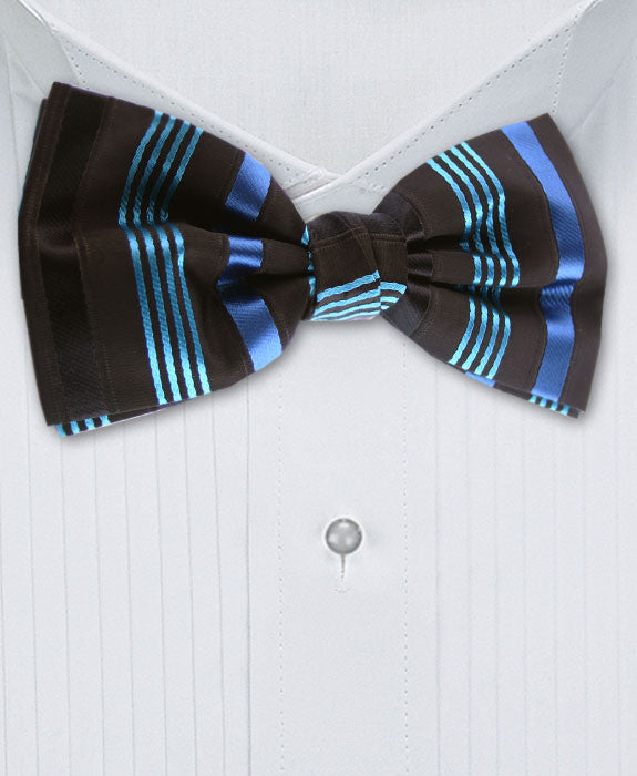 black and turquoise bow tie