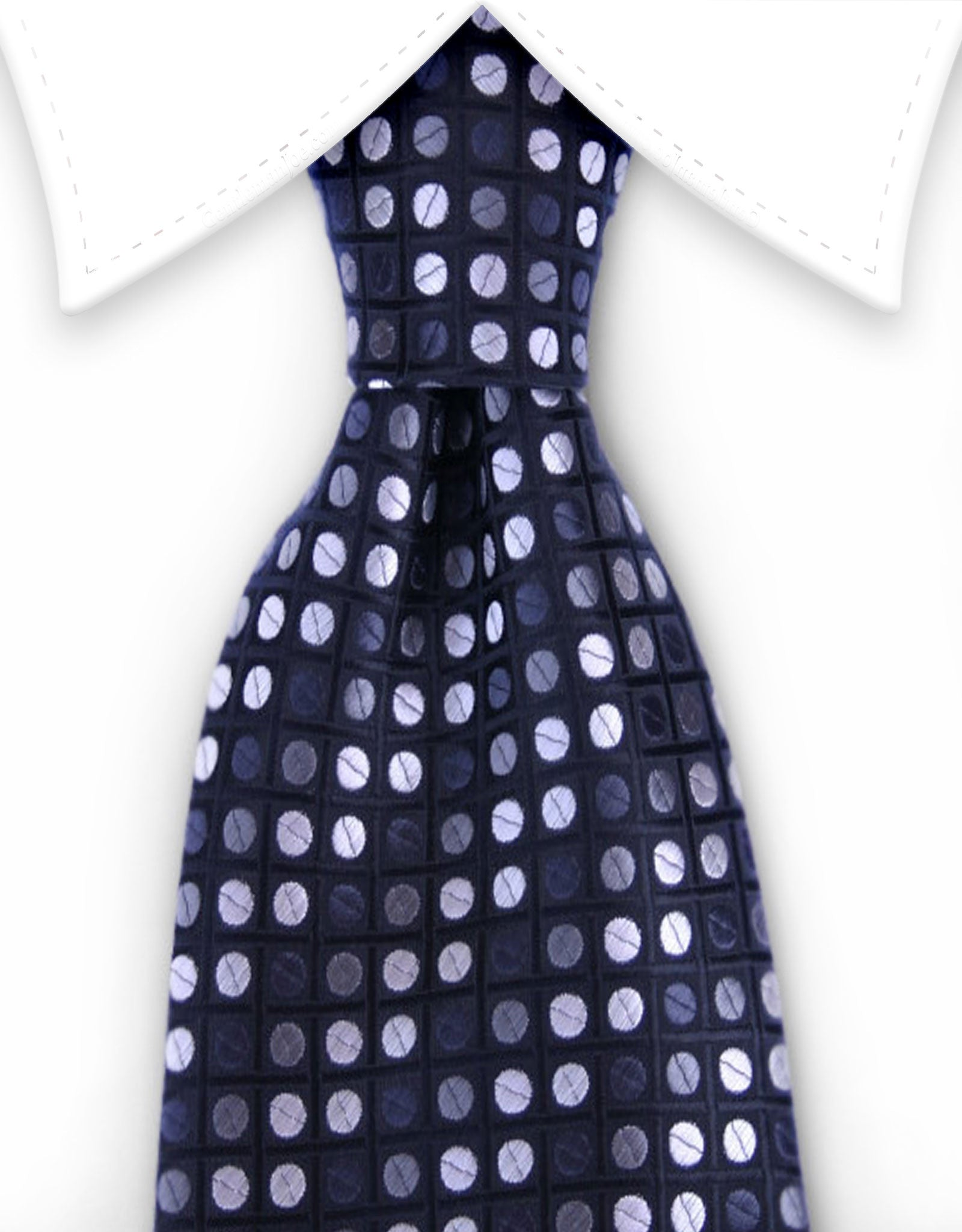 black, charcoal, silver polka dot tie