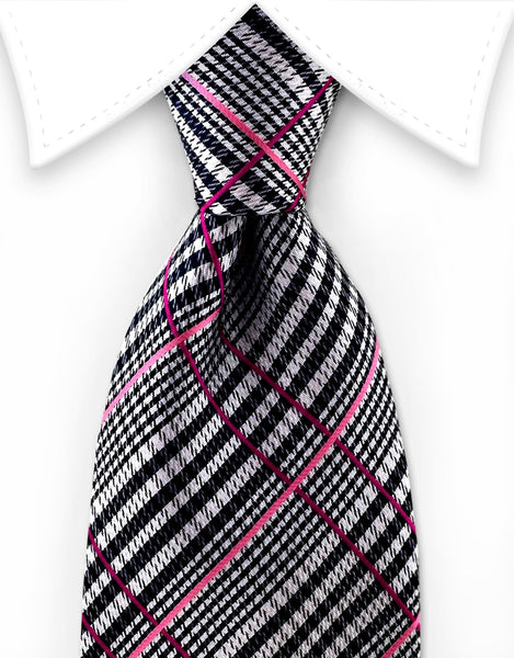 black pink plaid tie