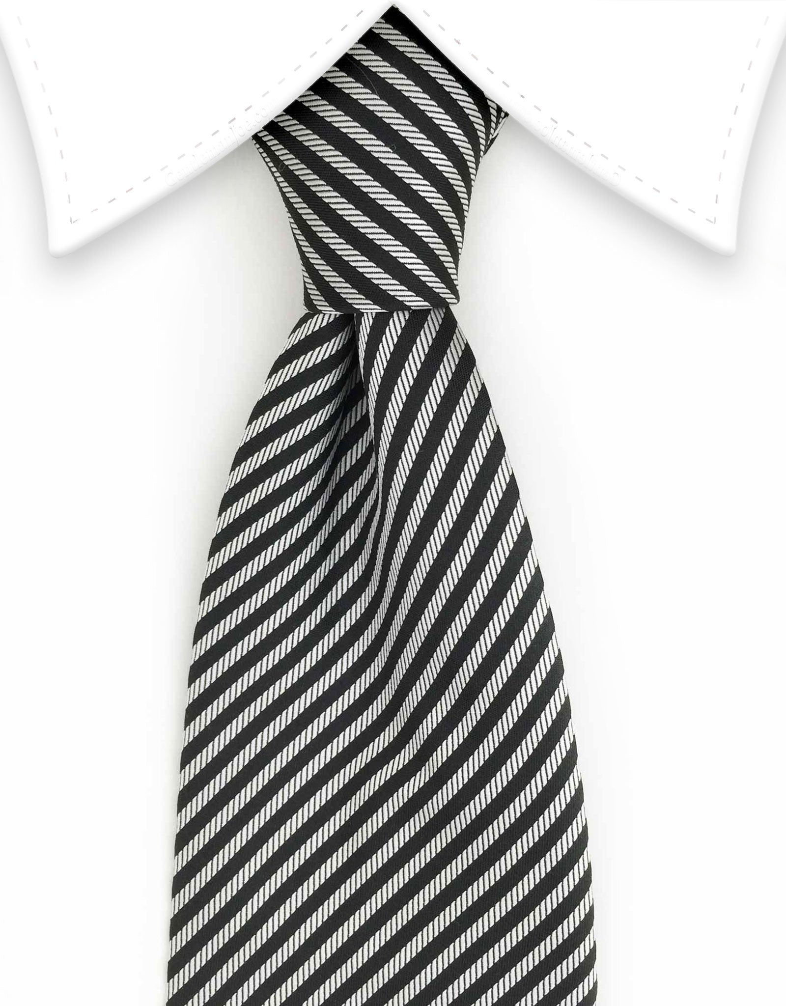 black and silver pencil striped necktie
