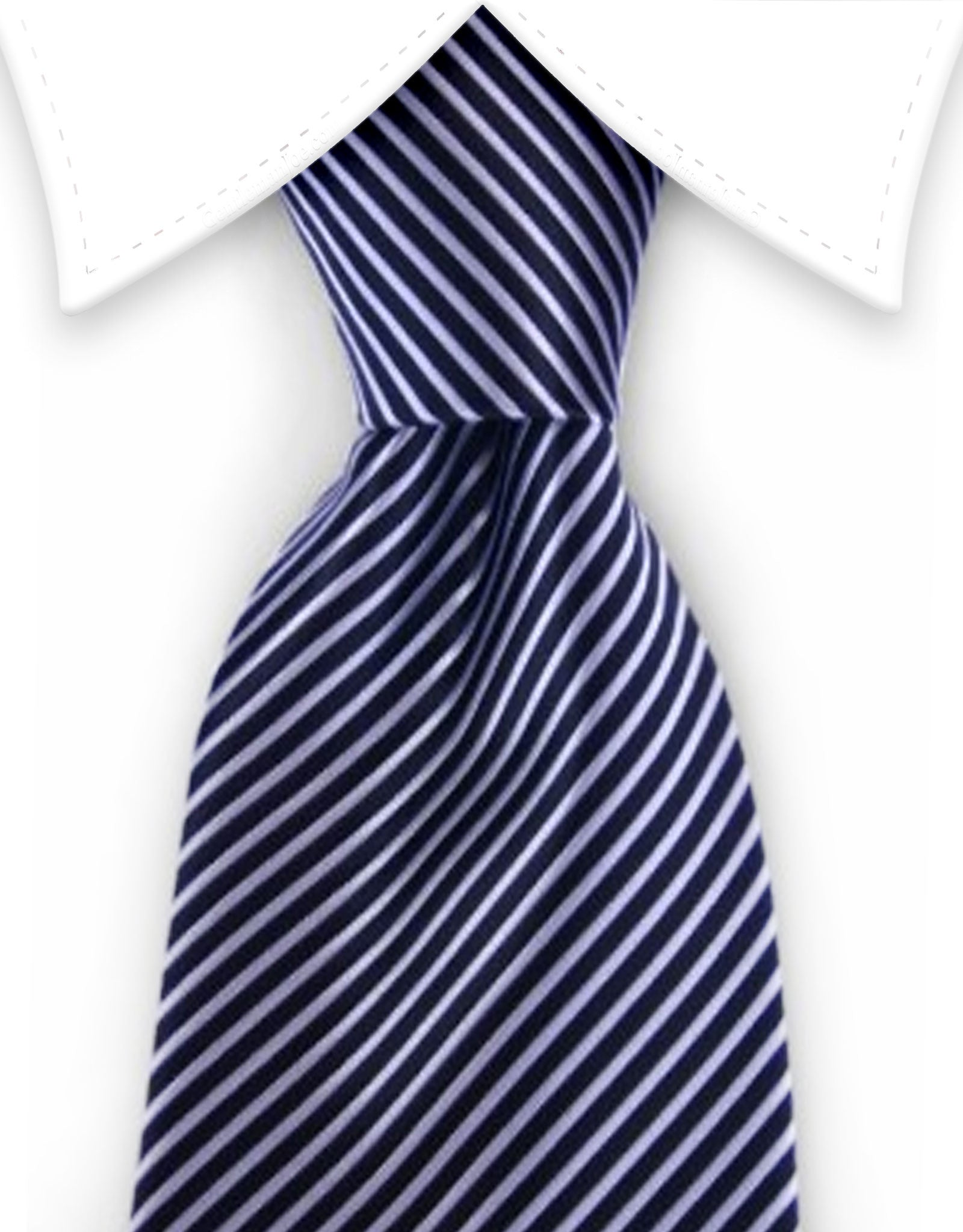 Black and silver pinstriped tie