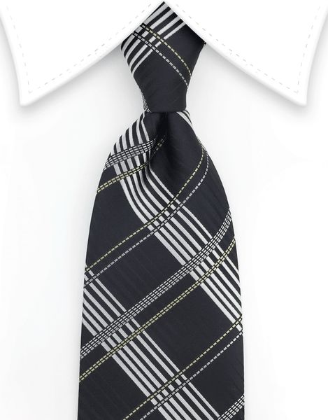 Black & Silver Plaid Necktie