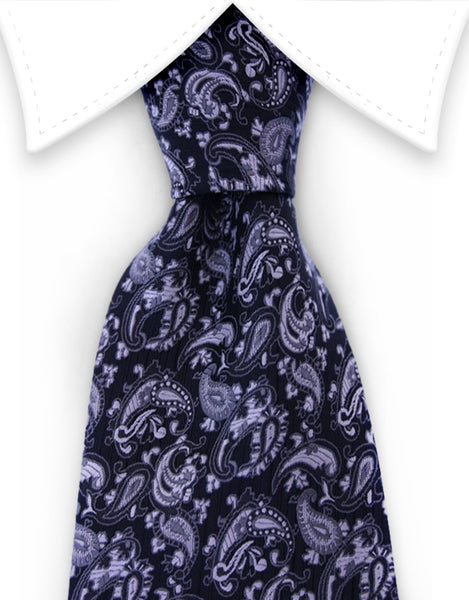black and silver paisley necktie