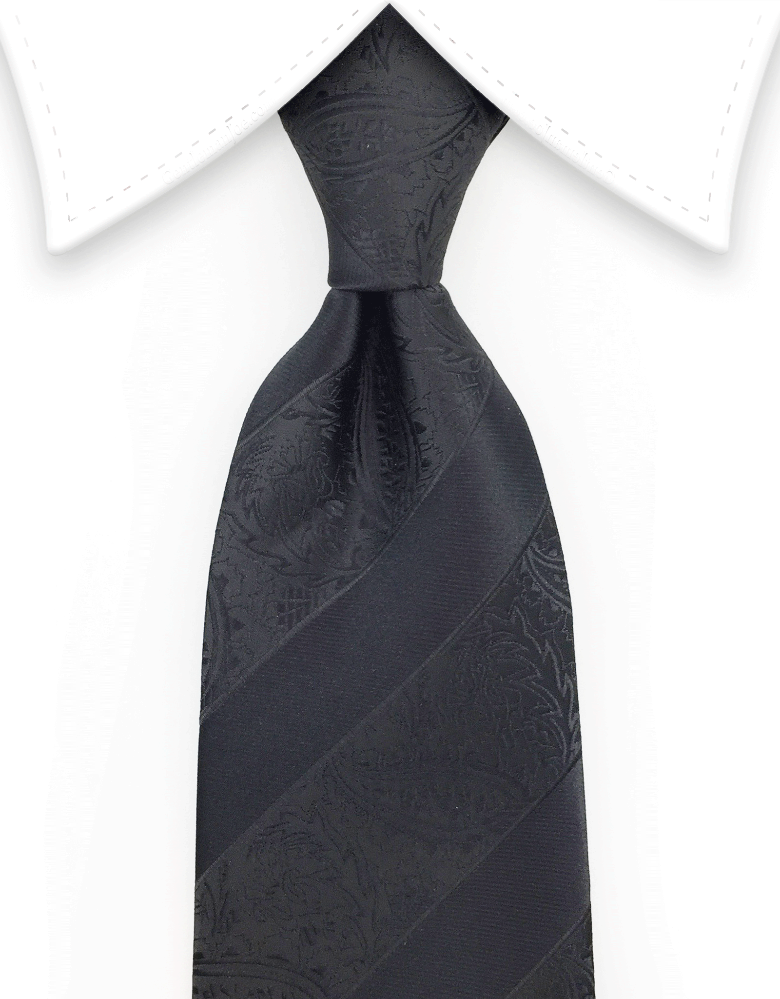 Black Paisley Tie with Black Stripes
