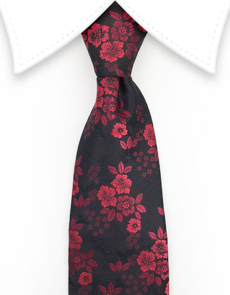 Red floral design on black tie