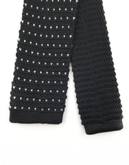 Black Knitted Necktie with white flecks