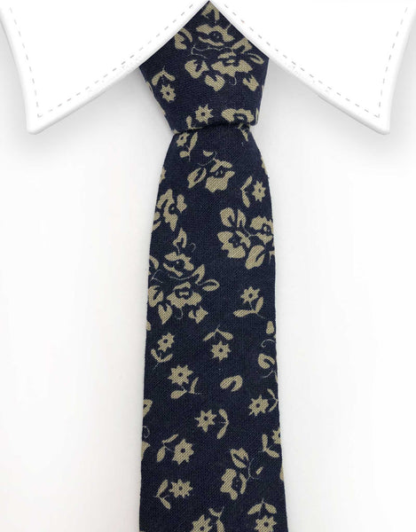 navy blue and grey floral tie