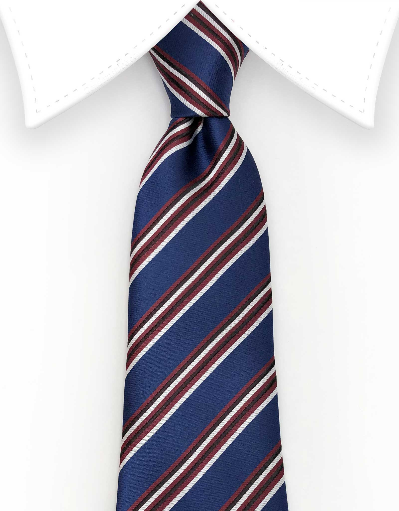 navy blue red white extra long tie