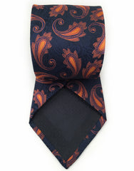 navy blue and orange necktie